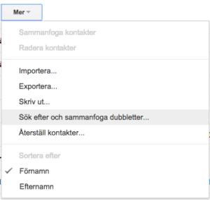 ta bort dubbletter kontakter gmail